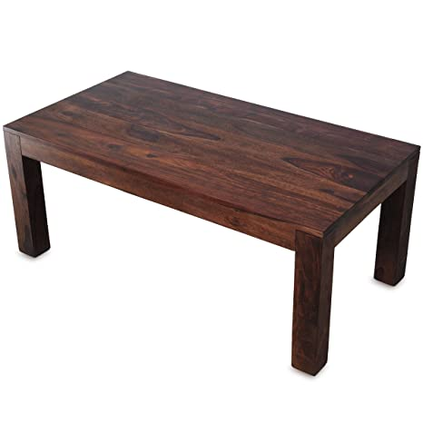 Couchtisch Massiv-Holz Sheesham 110 x 60 cm Wohnzimmer-Tisch Design dunkel-braun Landhaus-Stil Beistelltisch rechteckig Natur-Produkt Wohnzimmermöbel Massivholzmöbel Echtholz Unikat modern