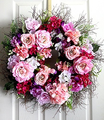 Extra Large Peony and Roses spring wreath for front door, Summer Wreath, wedding wreath