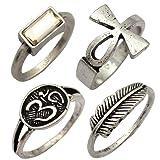 Q&Q Fashion 4Pcs Silver Egyptian Ankh Cross Buddhist Om Ohm Aum Feather Leaf Rhinestone Band Ring, 7