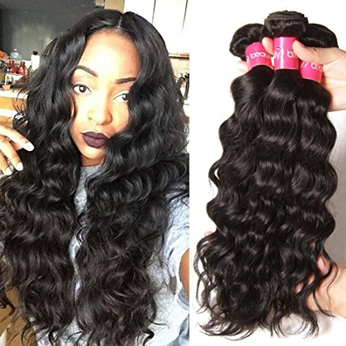 Longqi 6a Unprocessed Brazilian Virgin Hair Natural Wave Pack of 3 Cheap Wavy Human Hair Bundles Deal (16 18 20inch, Natural Color) (Natural Wave Hair compare prices)