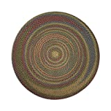 ITM Monticello Indoor/Outdoor Reversible Round Braided Rug, 8-Feet, Olive