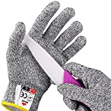 NoCry Cut Resistant Gloves for Kids (8 - 12 years old) - High Performance Level 5 Protection, Food Grade. Free Ebook Included!