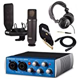 Rode NT1 Condenser Microphone Kit with Presonus 2x2 USB 2.0 / 96kHz Audio Interface, Studio Headphones and XLR Cable