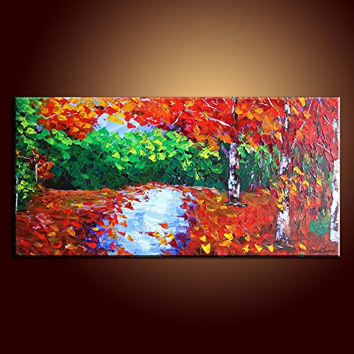 Knife Painting Collect Unframed Painting On Canvas Palette Knife Autumn Forest 12X24 In/30X60Cm