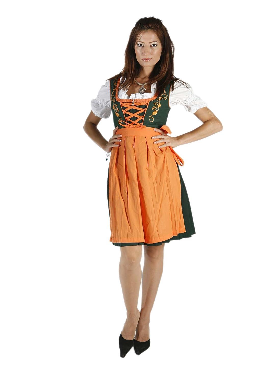 3tlg. Dirndl Set Trachtengrün Orange mit Bluse und Schürze kaufen