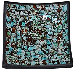 "Mosaic Glass Tray, One of a Kind - ""Turquoise Trail"" Theme, Approx. 6"" X 6"""