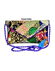 Designer Multi Women Clutch Embroidered Purse Evening Indian Handbag India