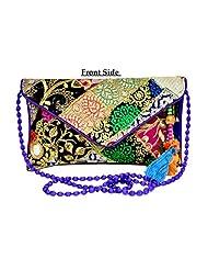 Designer Multi Women Clutch Embroidered Purse Evening Indian Handbag India
