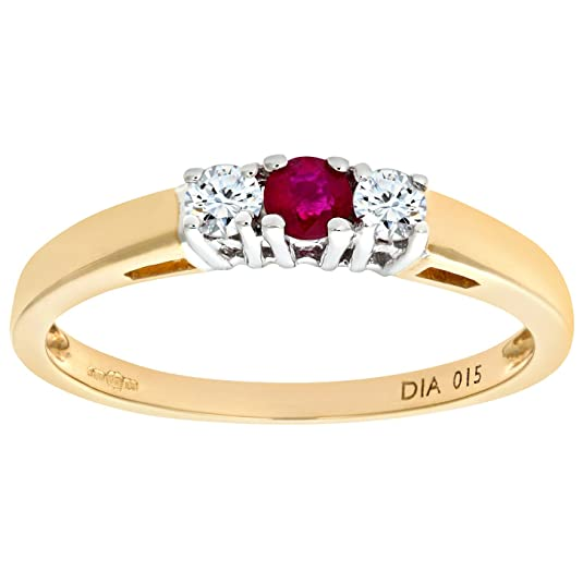Naava 9ct Yellow Gold Diamond and Ruby 3 Stone Ladies Ring