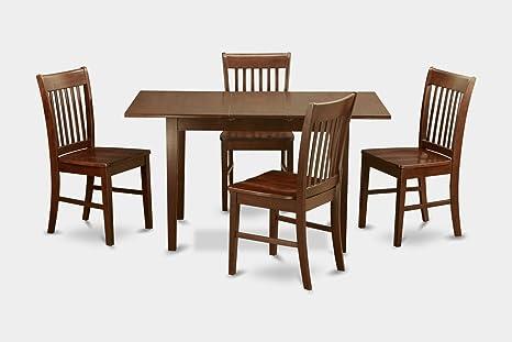 East West Furniture NOFK5-MAH-W 5-Piece Kitchen Table Set, Mahogany Finish