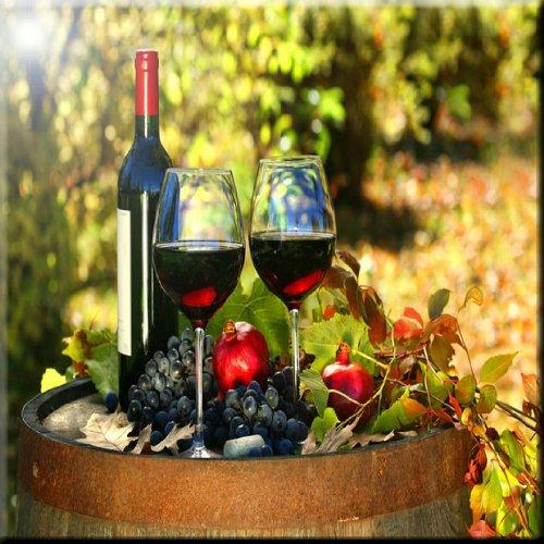 Rikki KnightTM Wine Glasses on Barrel Design Ceramic Art Tile 6