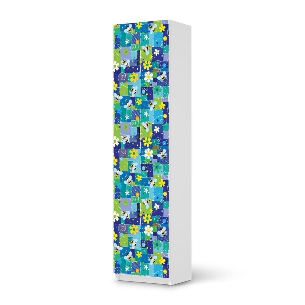 Möbel-Aufkleber IKEA Pax Schrank 201 cm Höhe – 1 Tür / Design Sticker Flowers and Bees 2 / selbstklebende Dekoration günstig bestellen