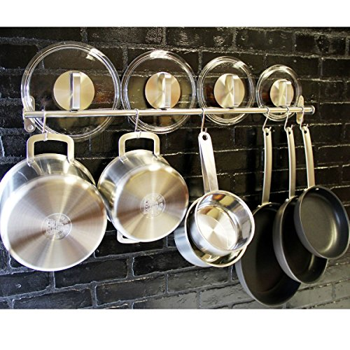 Lyon Stainless Steel Gourmet Kitchen 31.5 Inch Wall Mount Rail and 10 S Hooks Set Utensil Pot Pan Lid Rack Storage Organizer , Silver (Pot Pan Holder Rack compare prices)