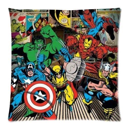 Generic Custom Cartoon Tv Series Captain America Cool Design Printed Zippered Pillowcase Cushion Case 18*18(Twin Sides) front-1007916