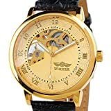 ESS Gent Mens Golden Case Skeleton Dial Hand-Wind Up Leather Mechanical Watch WM208