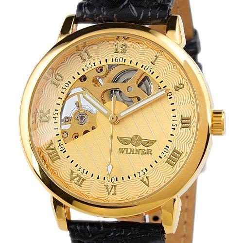 Gents Men's Golden Case Skeleton Dial Hand-Wind Up Leather Mechanical Watch WM208