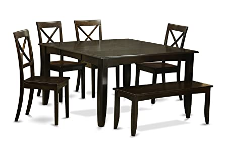 East West Furniture PFBO6-CAP-W 6-Piece Dining Table Set, Cappuccino Finish