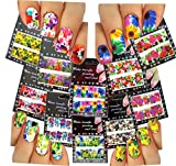 Nail Art Water Slide Tattoo Decals Full Cover Large Flowers, 10 Pack /Cvi/