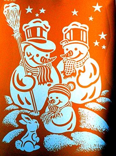"""XXL RETRO KULT 45 x 34 cm groß """"SCHNEEMANN FAMILIE PAPA, MAMA, KIND UND HÄSCHEN"""""""" in Winterlandschaft , Fensterdekoration Fensterbild, Fensteraufkleber, MADE IN GERMANY Wandtattoo Deko Sticker, Weihnachtsdekoration, Schaufenster In- und Outdoor , Kinderzimmer, Winter Basteln Spielen Kleben, Bunte Klebebilder für das Fenster Sticker, Weihnachten Rentier Tannenbaum Geschenke Weihnachtskalender Nikolaus Engel Christmas Schneemann"""