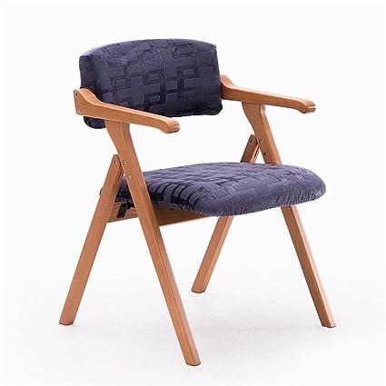 Massivholz Esszimmerstuhl Kreativ mit Armlehnen Faltbarer Besprechungsraum Restaurant Freizeit Sessel (Blauer Chenille Stoff)
