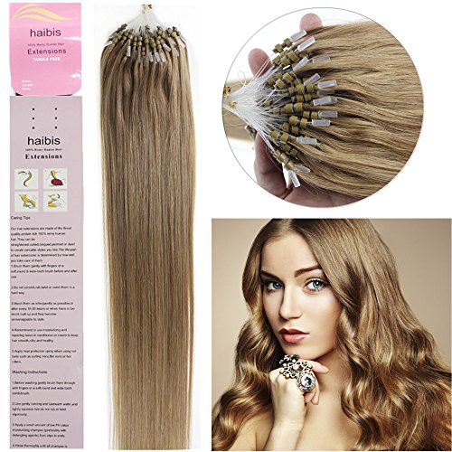 haibis 16''-22'' Straight Micro Loop Remy Human Hair Extensions with Double Silicone Ring Beads Tipped 1g/s 100s(20'',#16 Ash Blonde)