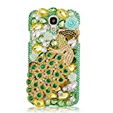 Mavis's Diary Green Luxury 3D Handmade Full Bling Crystal & Rhinestone Metal Golden Peacock Design Clear Cover Case with Soft Clean Cloth for Samsung Galaxy S4 IV I9500 I9505 SPH-L720, SGH-I337 SCH-I545 SGH-M919 SCH-R970 S4 LTE-A S4 La Fleur edition