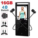 MP3 Player with Bluetooth,Digihero 16GB mp3 Player with FM Radio/Voice Recorder/Pedometer, Lossless Sound,60Hours Playback,HD Sound Quality Earphone, with Earphone Armband for Sport Running New 2018 (Color: 16GB Black MP3 Player)
