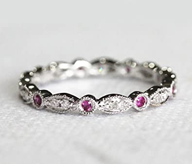 VogueGem Antique Art Deco Red Ruby Diamonds 14ct White Gold Full Eternity Band Wedding Ring