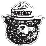"""StickyChimp Smokey the Bear Firefighting WILDFIRE sticker 4"""" x 4"""",Black"""