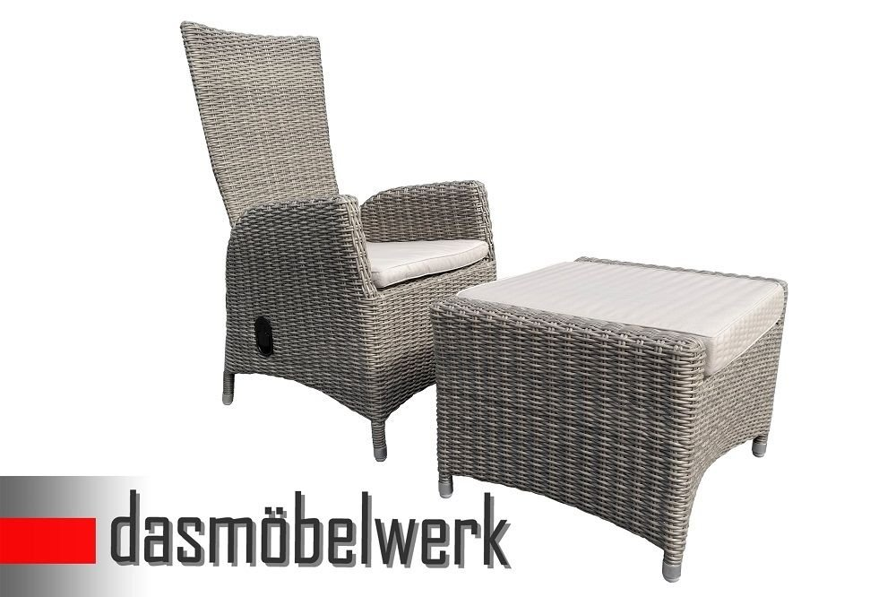 Poly Rattan Hochlehner + Hocker Stuhl Relax Sessel Gartenmöbel Gartenstuhl Grau günstig kaufen