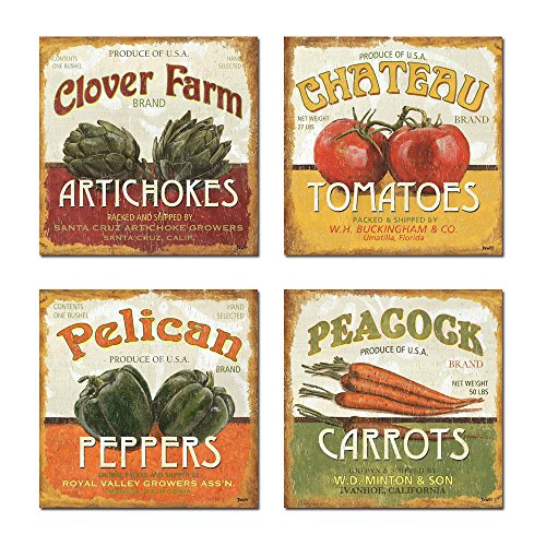 Spirit Up Art Retro Vegetables (Tomatoes, Peppers, Carrots, Artichokes) of Food Picture Painting on Canvas Print Stretched and Framed, Ready to Hang, Modern Home Decorations Wall Art set of 4 (Fruits Of The Spirit Wall Art compare prices)