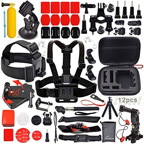 """Leknes Kit accessori sport esterni bundle per telecamere e sj4000 / telecamere sj5000 e per gopro hero 4/3 + / 3/2/1 piccola dimensione EVA antiurto Borsa (6,8 x5 """"x2.7"""" """") +Pancia / Supporto capo Strap +Allungabile portatile Monopiede con Telefono morsetto + Car ventosa + Manubrio della bici Holder + Floating Hand Grip + Remote Nylon cinturino da polso + Inserti Ant-nebbia + curve Monti superficie piana + J-ganci adattatori + blocco rubber plug + adattatore treppiede + surface fibbia a sgancio + cinghie"""