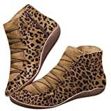 SUGEER Ladies Snow Boots Women's Leopard Shoes Round Head Tie Side Zipper Casual Boots Women's Shoes (Color: Brown, Tamaño: 10)