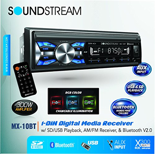 Soundstream MX-10BT Car Digital Media Player Stereo Receiver with Built-in Bluetooth Hands-Free Calling Music Streaming USB AUX SD Card Inputs RGB Multi-Color illumination AM FM Radio Remote Control (Car Digital Media Player compare prices)