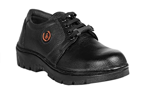 JK PORT Black Faux Leather Safety Shoe available at Amazon for Rs.598