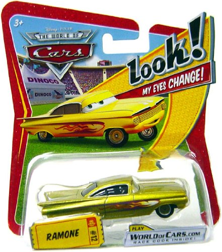 Disney / Pixar CARS Movie 1:55 Die Cast Car with Lenticular Eyes Yellow Ramone - 1