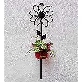 Green Gardenia Iron Wall Sun Flower With Bucket-Red