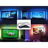 USB Led Light, 2M/6.5FT SMD5050 RGB LED Strip Lights, IP65 Waterproof USB TV Background Light Strip Lights with USB Cable and Mini Controller DC5V