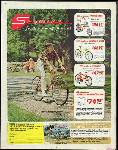 For the young at heart Schwinn Orange Krate Typhoon Varsity Sport ad 1968