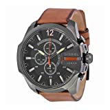 Diesel Men's Mega Chief Quartz Stainless Steel and Leather Chronograph Watch, Color: Black, Brown (Model: DZ4343) (Color: Brown 1)