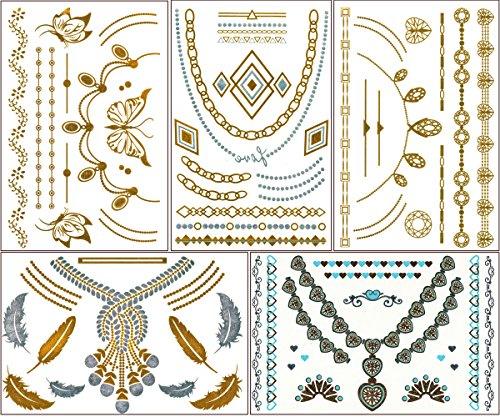 chictats-metallic-gold-silver-temporary-flash-tattoos-stickers-5-sheet-pack-what-you-see-in-the-main
