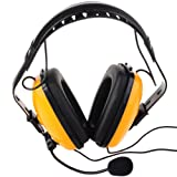 Dong Noise canceling with mic Plug Headset PTT Mic Earpiece Headphone for Motorola 2 pin Radio walkie Talkie GP88S/GP68/GP88/GP3188/CP040/A8(Yellow Color)