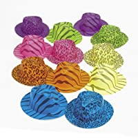 Neon Animal Print Gangster Hats (1 dz) from Fun Express
