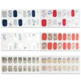 6 Sheets Full Nail Wraps Art Polish Stickers Decal Strips Adhesive False Nail Design Manicure Set With 1Pc Nail Buffers FilesFor Women Girls (Color: 26-C4)