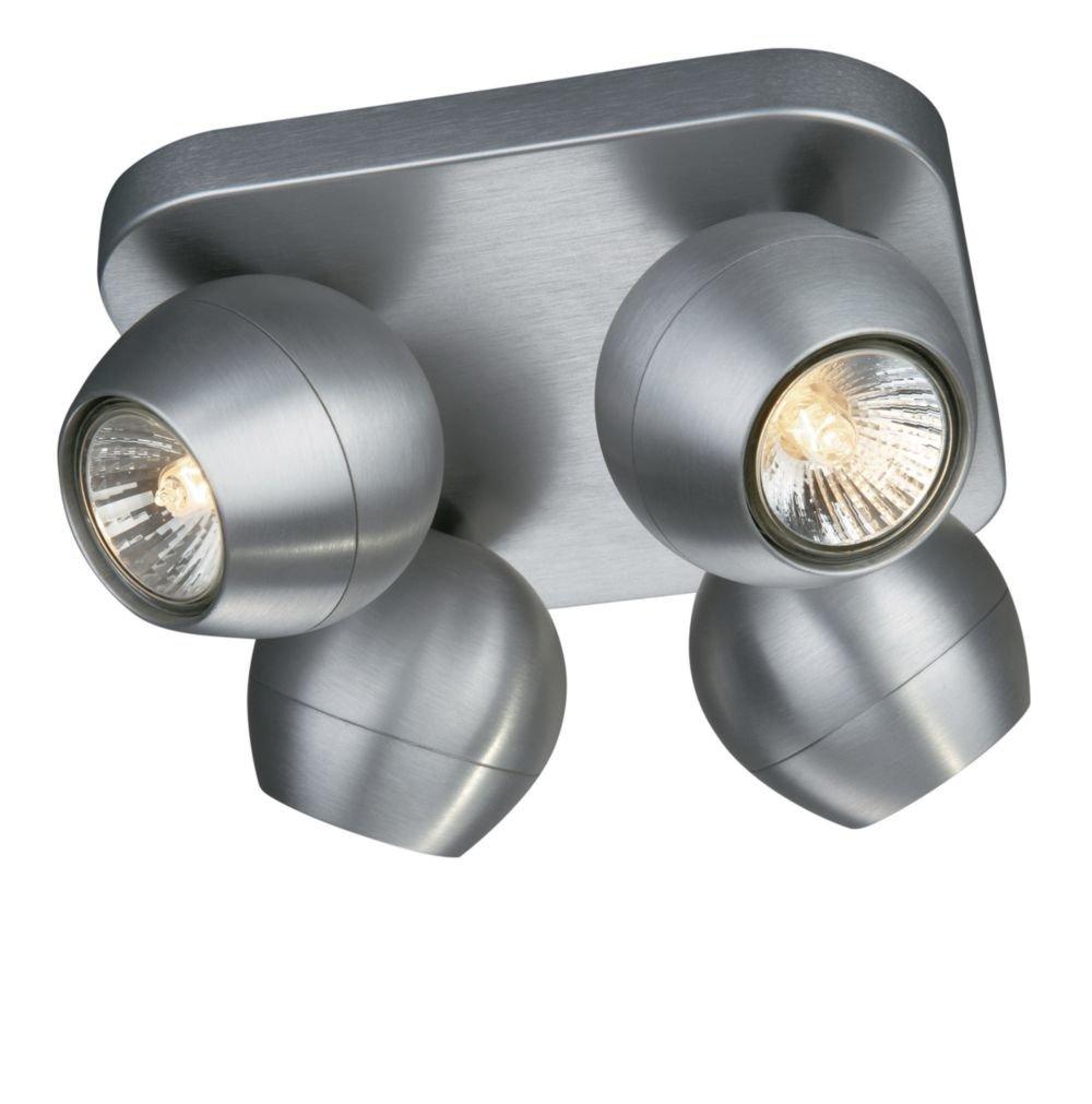 Philips Lirio Spotquadrat Planet 4-flammig Metall 50 W GU10 Aluminium gebürstet 5703448LI