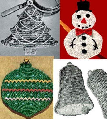 8 Christmas Potholders for Crochet