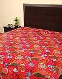 Indian Designer Bedspread Cotton Red Fruit Kantha Work Bed Sheet Single By Rajrang