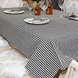 iHappy Simple Black&White Stripes Fabric Kitchen Dinner Tablecloth,55x71 Inch