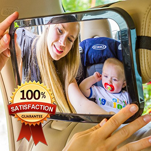 Beige Car Seat Mirror For Baby Safety. Extra Large. Blue, Pink, Or Beige Color Choices. #1 Car Safety Device For Infants! Lightweight & 180 Degree Adjustment. 100% Satisfaction Guarantee! Stop Endangering Your Baby And Yourself By Turning Around To Check