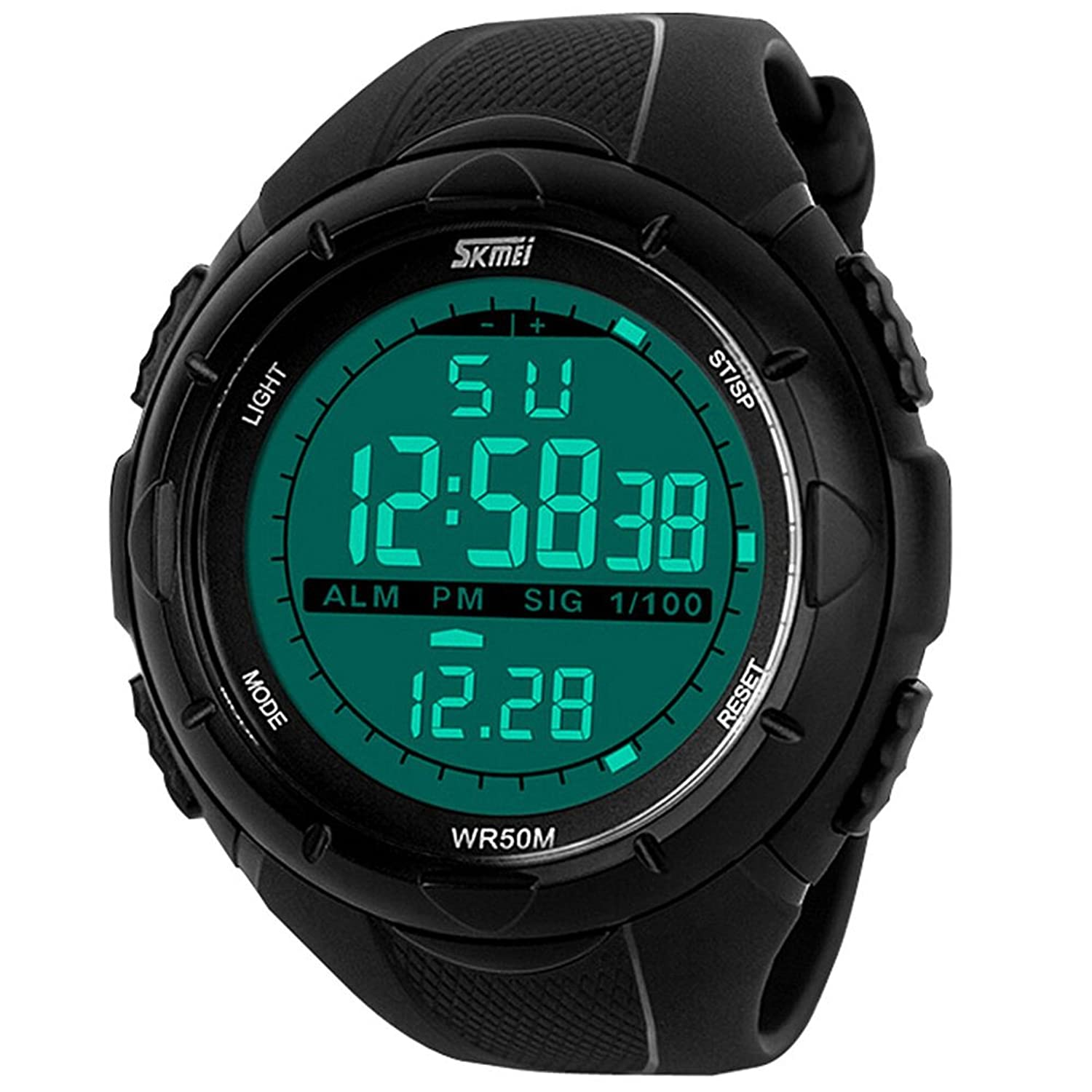 Aposon Mens Multifunctional Military Waterproof Big Case Rubber Band Digital LED Sport Watch - Black